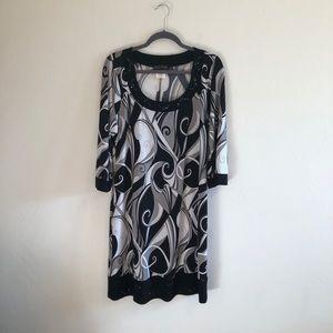 Blu Sage Retro Monochrome 3/4 Sleeves A-Line Dress